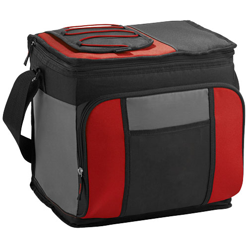 Easy-access 24-can cooler bag. Zippered main compartment holds up to 24 cans. Zippered front compartment. Easy-access pocket allow for quick retrieval of chilled items. Backsaver™ technology combats the strain of carrying a loaded cooler. Ultra Safe™ leak-proof PEVA lining. Collapses for easy storage. 600D Polyester. 420D of Polyester.